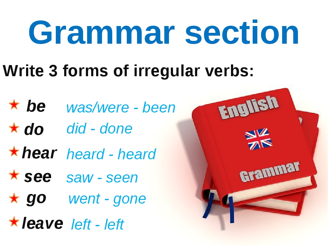 Grammar section Write 3 forms of irregular verbs: be do hear see go leave was...