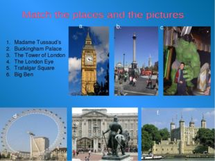 Madame Tussaud's Buckingham Palace The Tower of London The London Eye Trafal