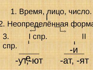 1. Время, лицо, число. 2. Неопределённая форма. 3. I спр. II спр. -е -и -ут,-