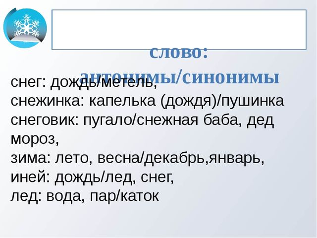 слово: антонимы/синонимы