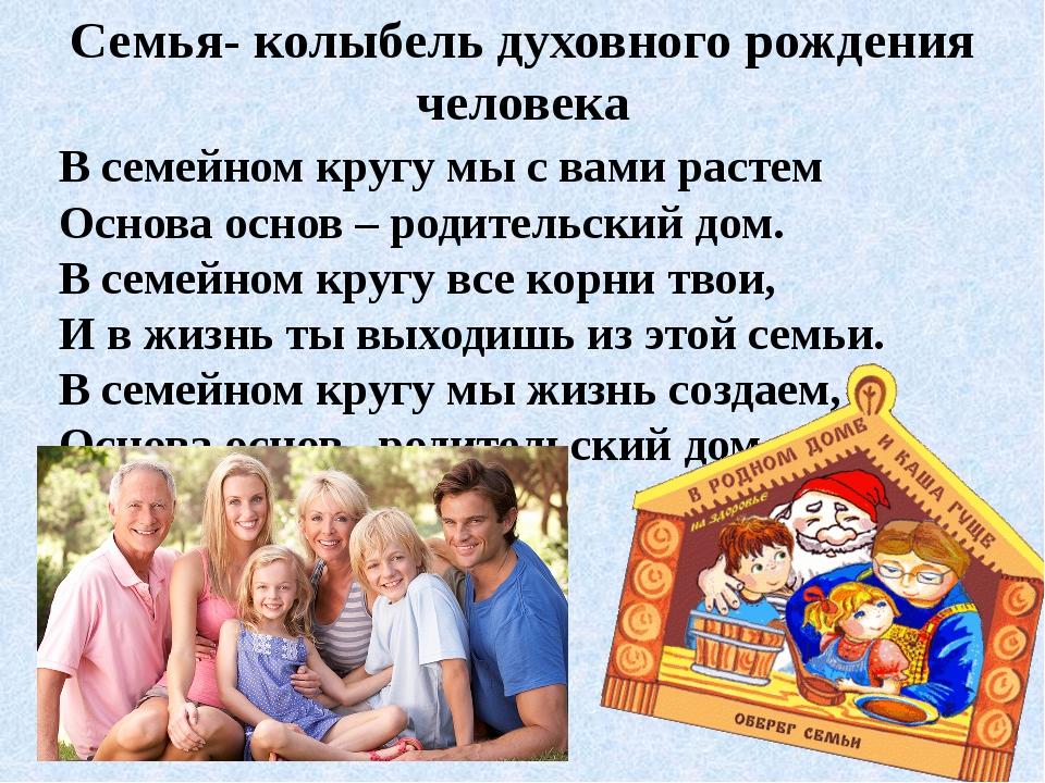 Семья- колыбель духовного рождения человека В семейном кругу мы с вами растем...