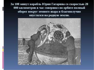 За 108 минут корабль Юрия Гагарина со скоростью 28 000 километров в час совер