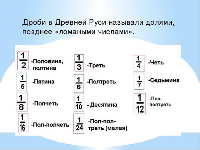 Дроби в Древней Руси называли долями, позднее «ломаными числами».