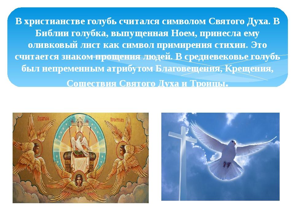 В христианстве голубь считался символом Святого Духа. В Библии голубка, выпущ...