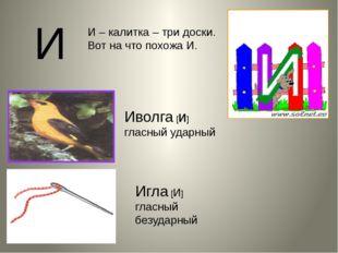 И – калитка – три доски. Вот на что похожа И. И Иволга [и] гласный ударный Иг