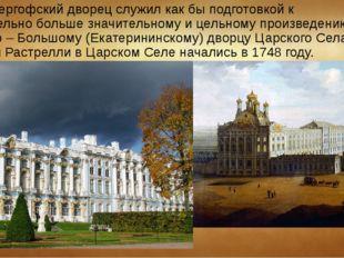 Но Петергофский дворец служил как бы подготовкой к значительно больше значите