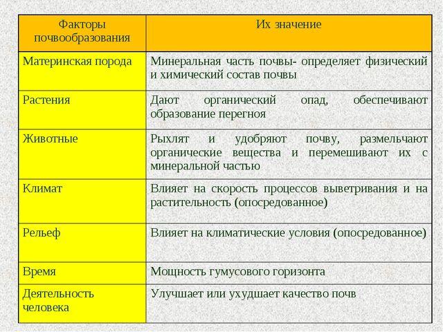 Факторы почвообразованияИх значение Материнская породаМинеральная часть поч...