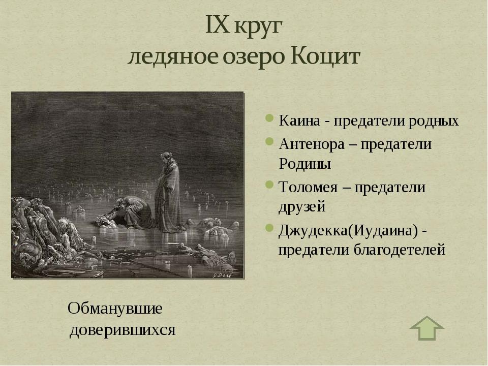 Обманувшие доверившихся Каина - предатели родных Антенора – предатели Родины...