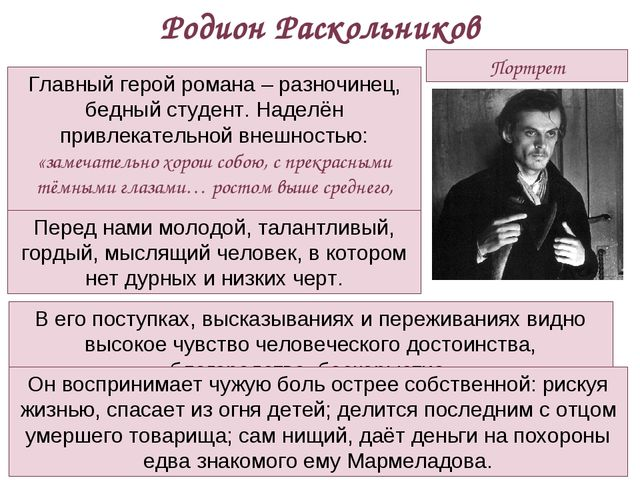 Портрет Родион Раскольников Главный герой романа – разночинец, бедный студент...