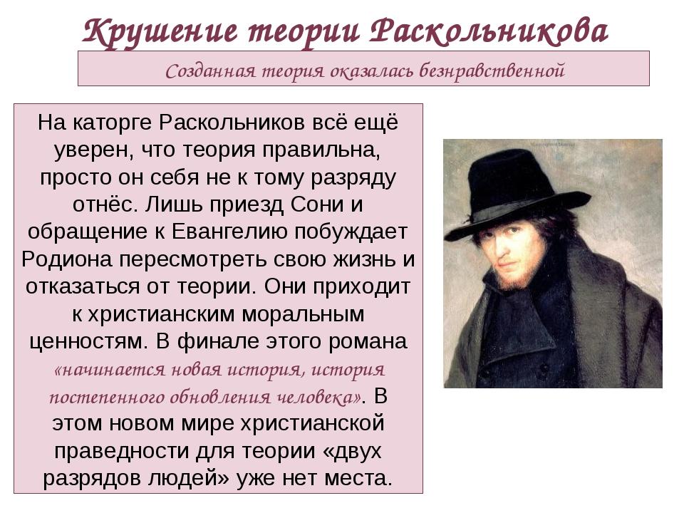 Крушение теории Раскольникова Созданная теория оказалась безнравственной На к...