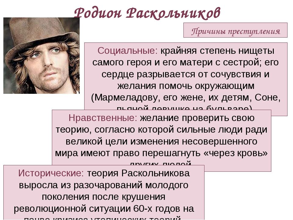 Причины преступления Родион Раскольников Социальные: крайняя степень нищеты с...