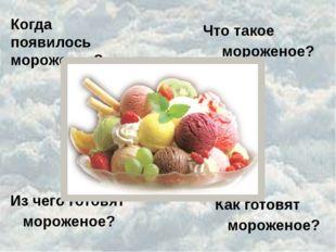 Когда появилось мороженое? Что такое мороженое? Из чего готовят мороженое? Ка
