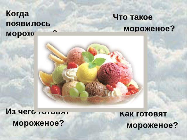 Когда появилось мороженое? Что такое мороженое? Из чего готовят мороженое? Ка...