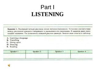 Part I LISTENING