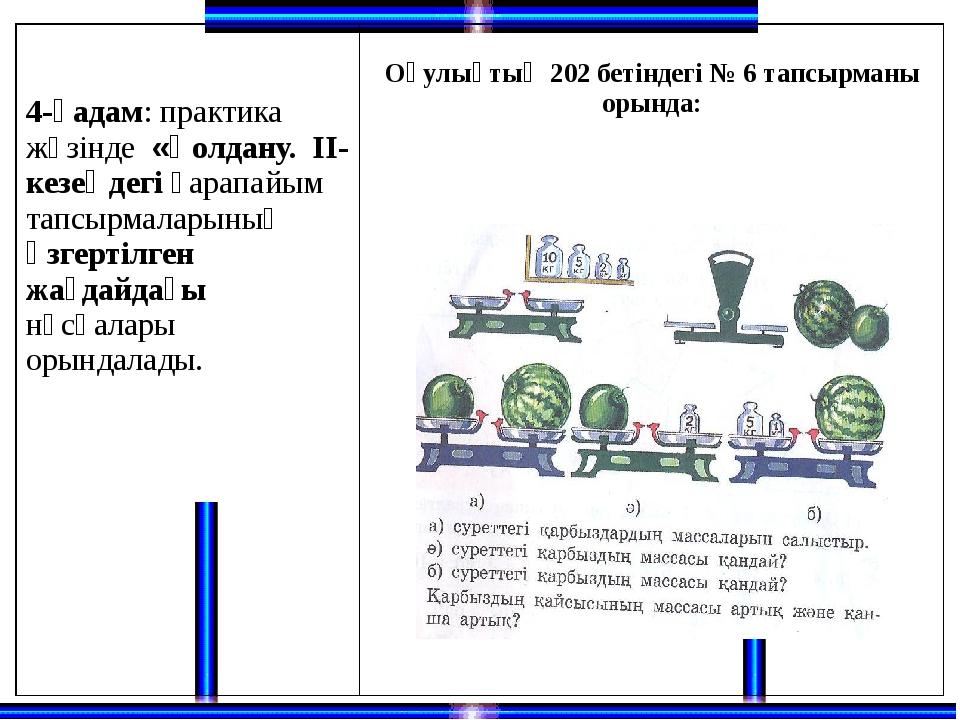 4-қадам: практика жүзінде«Қолдану. ІІ-кезеңдегіқарапайым тапсырмаларыныңөзге...