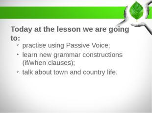 Today at the lesson we are going to: practise using Passive Voice; learn new