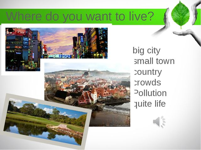Where do you want to live? big city small town country crowds Pollution quite...