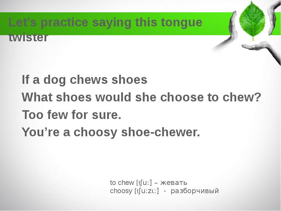 Let's practice saying this tongue twister If a dog chews shoes What shoes wou...