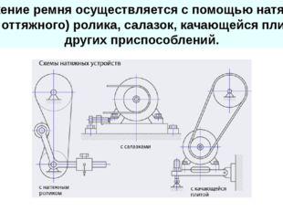 Натяжение ремня осуществляется с помощью натяжного (или оттяжного) ролика, с