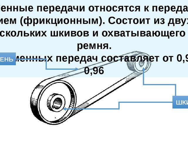 Ременные передачи относятся к передачам трением (фрикционным). Состоит из дву...