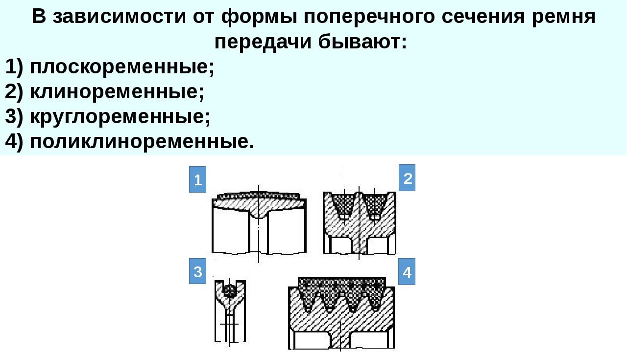В зависимости от формы поперечного сечения ремня передачи бывают: 1) плоскоре...