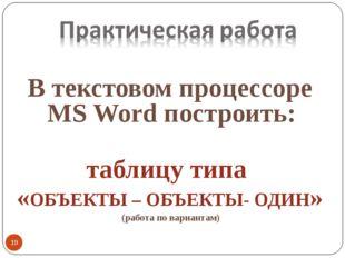 В текстовом процессоре MS Word построить: таблицу типа «ОБЪЕКТЫ – ОБЪЕКТЫ- ОД
