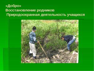 «Добро» Восстановление родников Природоохранная деятельность учащихся