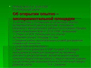 ПРИКАЗ №31-0 от 16.04.2009 По Октябрьской школе Об открытии опытно – экспери