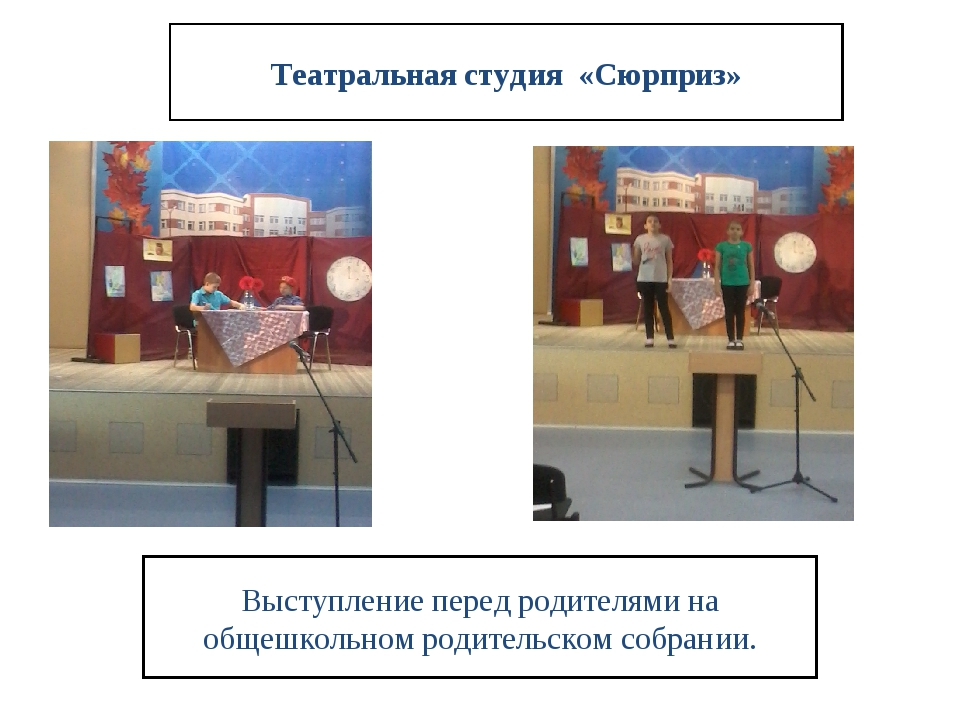 Театральная студия «Сюрприз» Выступление перед родителями на общешкольном род...