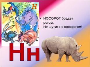 НОСОРОГбодает рогом. Не шутите с носорогом!