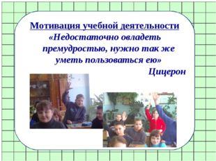 Мотивация учебной деятельности «Недостаточно овладеть премудростью, нужно так