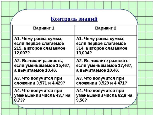 Контроль знаний Вариант 1Вариант 2 А1. Чему равна сумма, если первое слагаем...