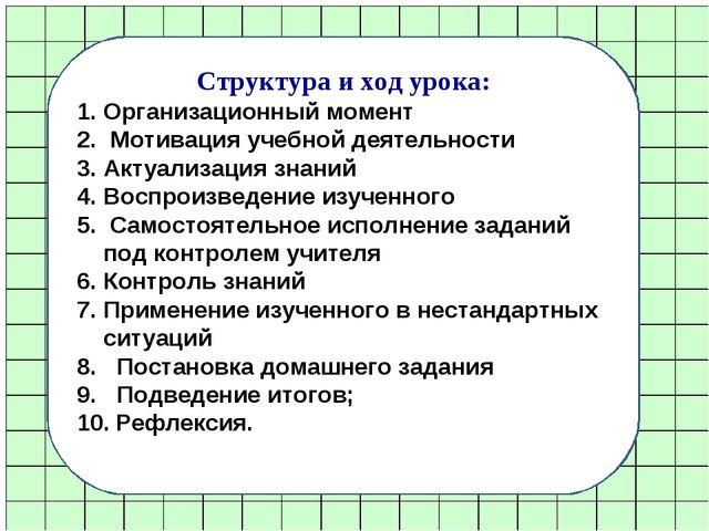 Структура и ход урока: Организационный момент Мотивация учебной деятельности...
