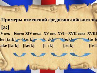 3. Примеры изменений среднеанглийского звука [a:] XІV век Конец XІV века XV