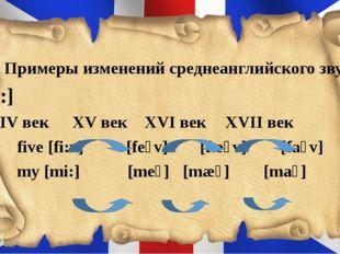 4. Примеры изменений среднеанглийского звука [i:] XІV век XV век XVІ век