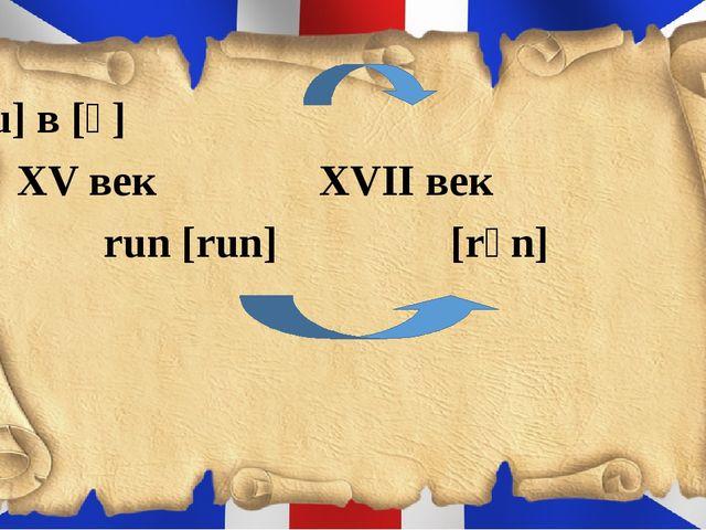 [u] в [ʌ] XV век XVII век run [run] [rʌn]