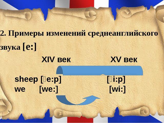 2. Примеры изменений среднеанглийского звука [e:] XІV век XV век sheep [ʃe:...