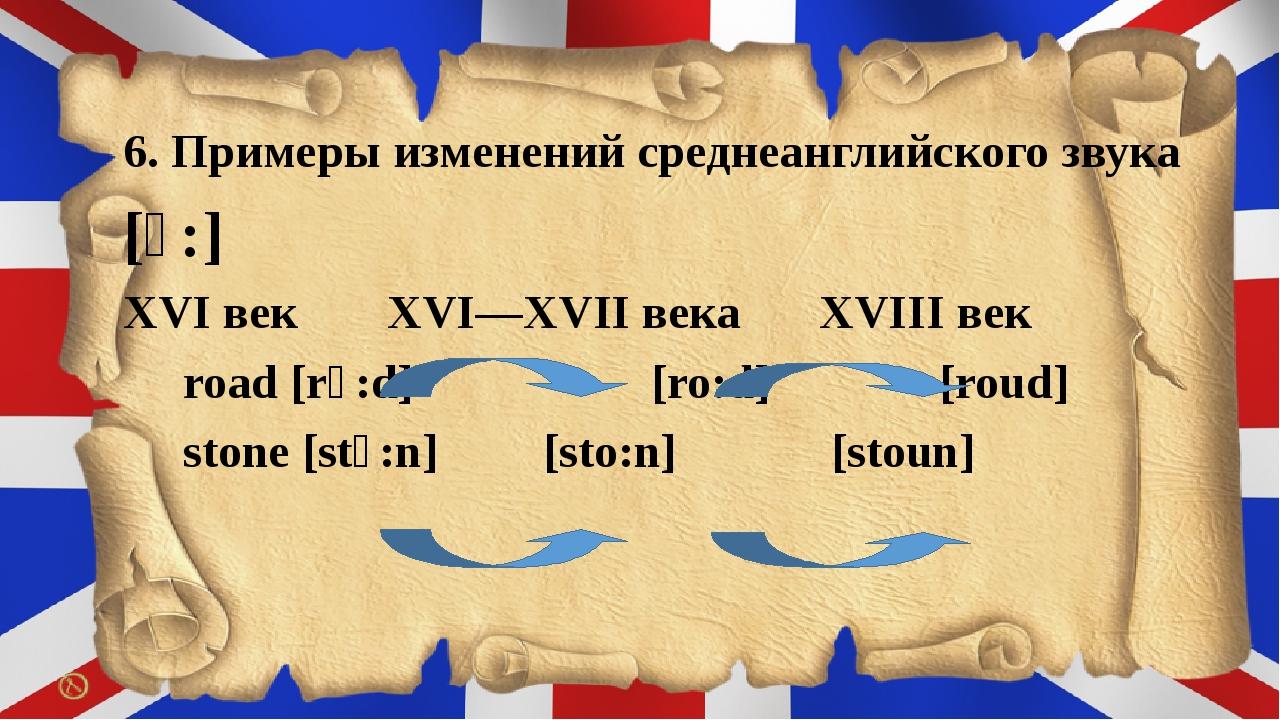 6. Примеры изменений среднеанглийского звука [ɔ:] XVІ век  XVІ—XVІІ века X...