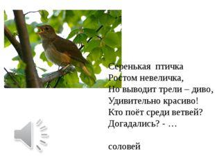 Серенькая птичка Ростом невеличка, Но выводит трели – диво, Удивительно крас