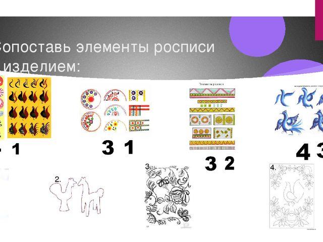 Сопоставь элементы росписи с изделием: 1. 2. 3. 4.