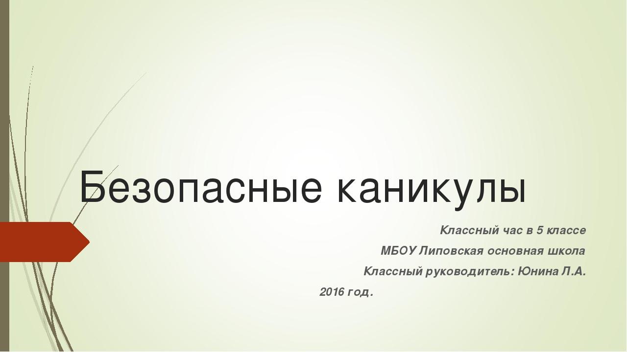 Безопасные каникулы Классный час в 5 классе МБОУ Липовская основная школа Кла...