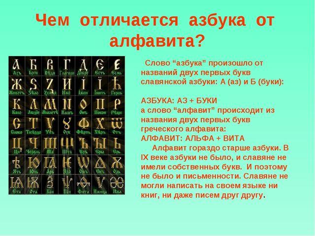 """Чем отличается азбука от алфавита? Слово """"азбука"""" произошло от названий дву..."""