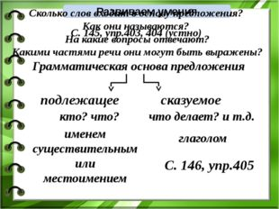 Развиваем умения С. 145, упр.403, 404 (устно) Грамматическая основа предложен