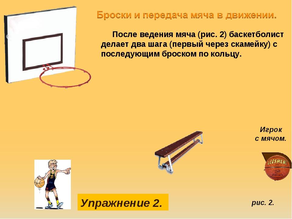 рис. 2. Упражнение 2. После ведения мяча (рис. 2) баскетболист делает два шаг...