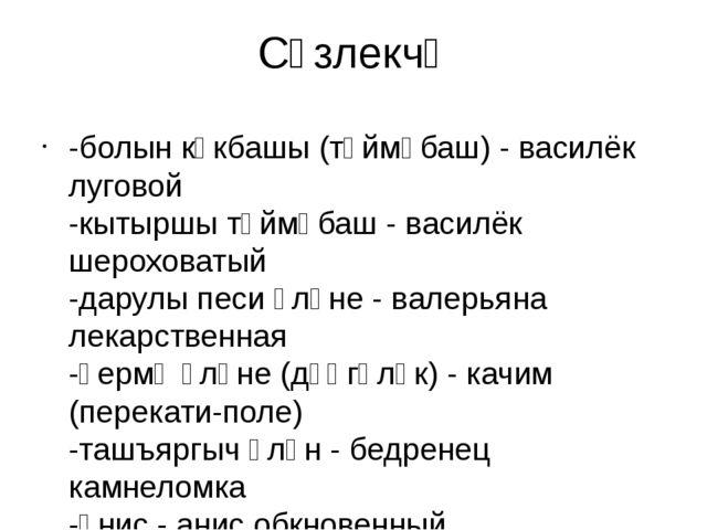 Сүзлекчә -болын күкбашы (төймәбаш) - василёк луговой -кытыршы төймәбаш - васи...