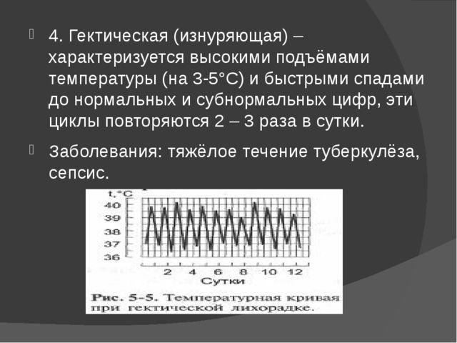 4. Гектическая (изнуряющая) – характеризуется высокими подъёмами температуры...