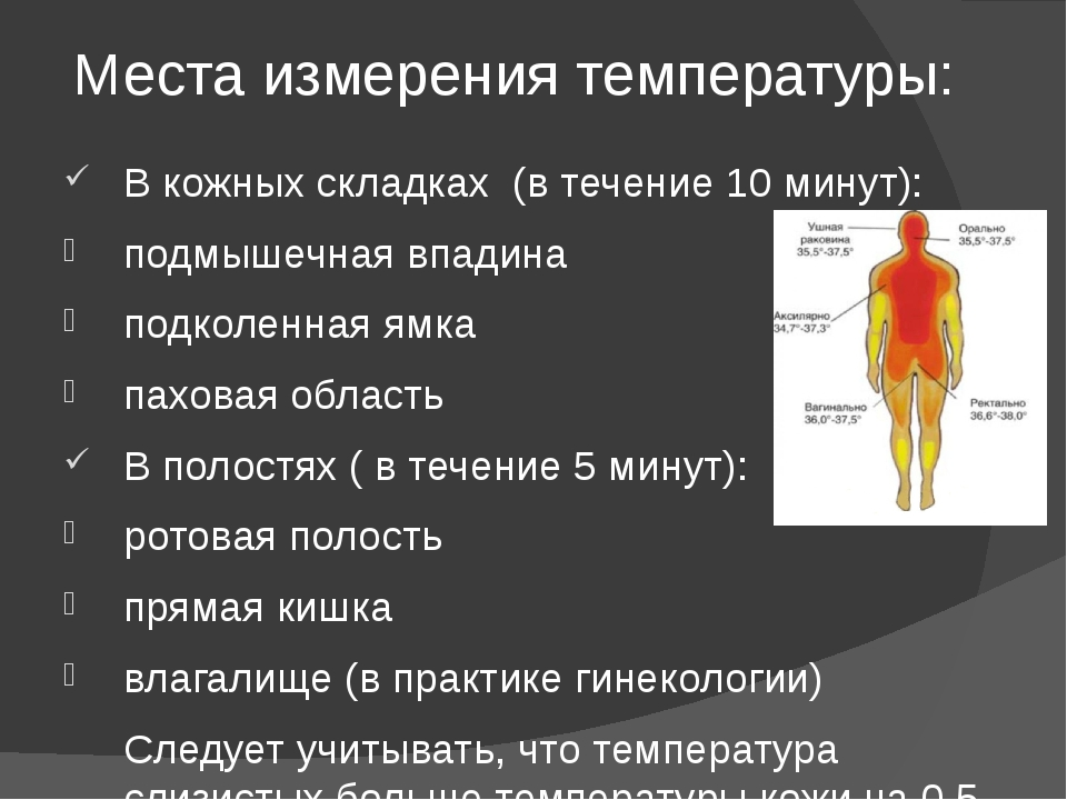 Места измерения температуры: В кожных складках (в течение 10 минут): подмышеч...