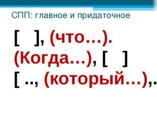 [ ], (что…). (Когда…), [ ] [ .., (который…),..] СПП: главное и придаточное
