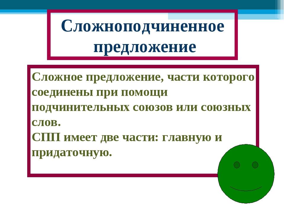 Сложноподчиненное предложение Сложное предложение, части которого соединены п...