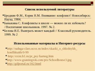 Использованные материалы и Интернет-ресурсы Список используемой литературы Бр